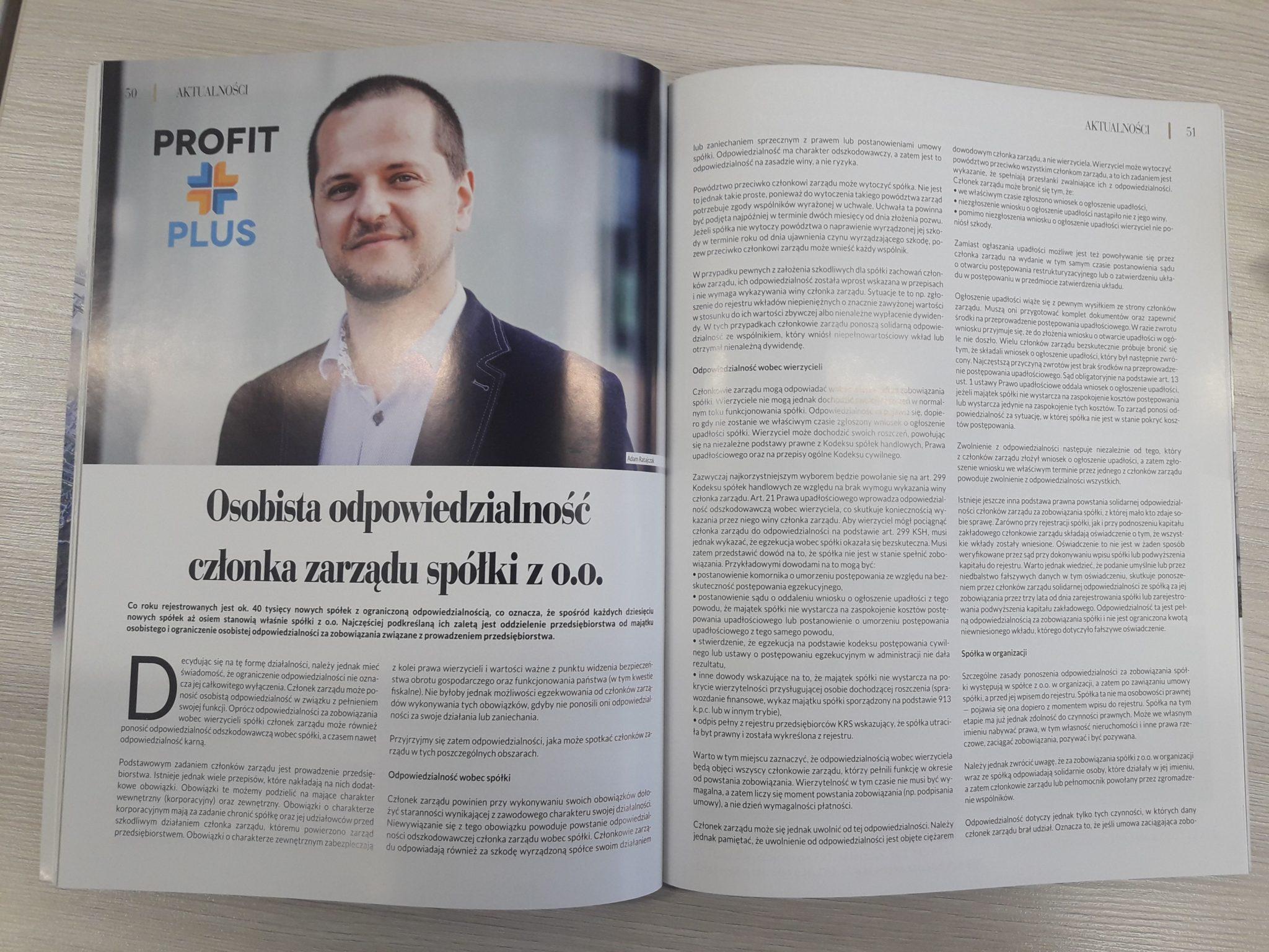 Artykuł Osobista odpowiedzialność członka zarządu spółki z o.o.